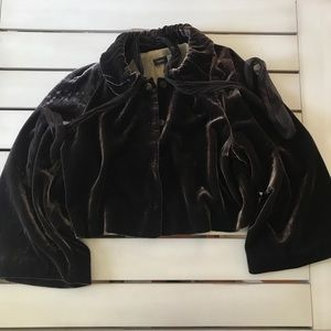 Saks 5th Ave Brown Velvet Cropped Jacket Evening